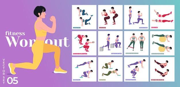 Zestaw do ćwiczeń dla kobiet kobiety wykonujące ćwiczenia fitness i jogę