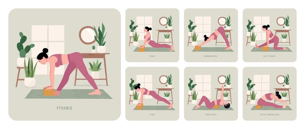 Zestaw do ćwiczeń jogi młoda kobieta ćwicząca pozy jogi