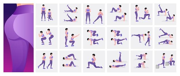 Zestaw do ćwiczeń pośladków dla kobiet wykonujących ćwiczenia fitness