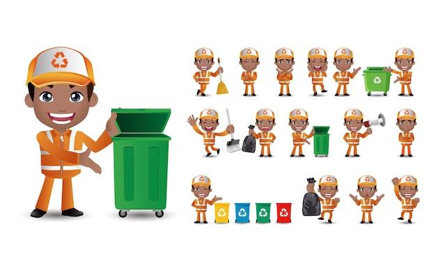 Zestaw do czyszczenia ulic w różnych pozach