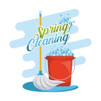 Zestaw do czyszczenia wiosennego mopowego, czerwonego plastikowego wiaderka z pianką