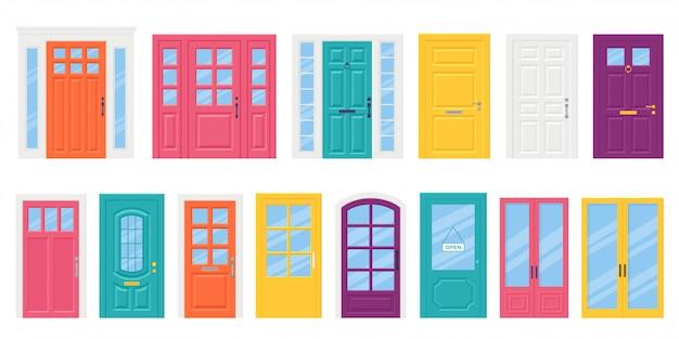 Zestaw do drzwi wejściowych, drzwi w stylu płaskim. ilustracji wektorowych.