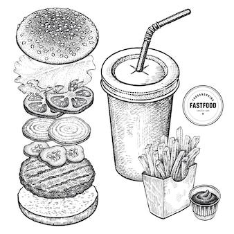 Zestaw do fast foodów. grafika w stylu vintage.