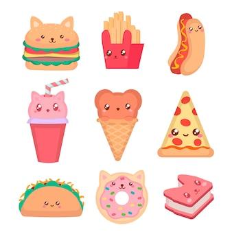 Zestaw do fast foodów i lodów kawaii