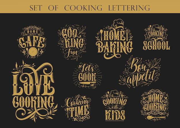 Zestaw do gotowania napis typografia dla karty z pozdrowieniami i plakatu. zestaw do gotowania napis odręczny napis. obchody szablonu projektu. ilustracja.