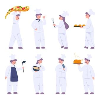 Zestaw do gotowania szefa kuchni restauracji. zbiór ludzi w fartuch ze smacznym daniem lub narzędziem do gotowania. pracownik zawodowy w kuchni.