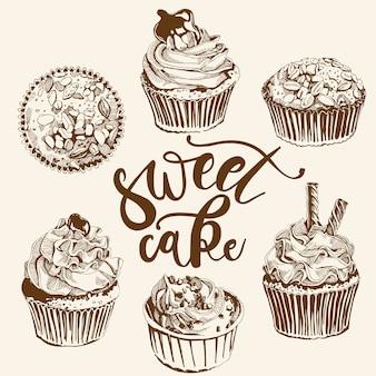 Zestaw do herbaty z zabytkowymi ciastami i słodyczami.