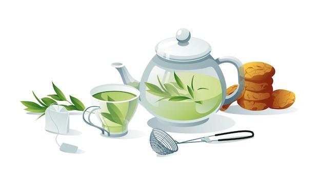 Zestaw do herbaty zielony, ziołowy. czajniki, filiżanki, torebka herbaty, sitko, ciasteczka. obiekty są izolowane na białym tle.