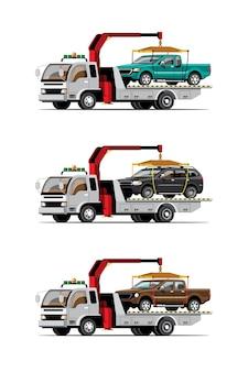 Zestaw Do Holowania Samochodów Premium Wektorów