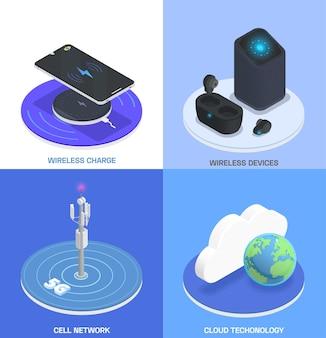 Zestaw do izometrycznej kolorowej kompozycji technologii bezprzewodowych z opisami sieci bezprzewodowych urządzeń ładujących i technologii chmury