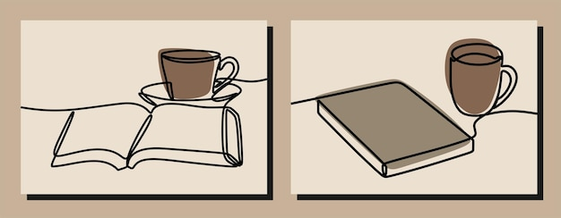 Zestaw do kawy i książki z linią ciągłą w jednej linii