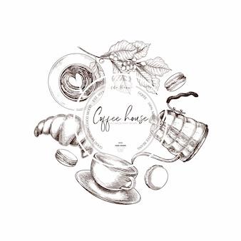 Zestaw do kawy. ręcznie rysowane wektor kawiarnia szablon projektu.