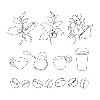 Zestaw do kawy sztuka znak czarna sztuka szkic liścia naturalnej fasoli filiżanka cezve jedna linia symbo