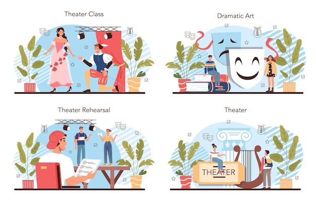 Zestaw do klasy lub klubu teatralnego. uczniowie odgrywający role w przedstawieniu szkolnym. młodzi aktorzy występujący na scenie, w sztuce dramatycznej i operatorskiej. ilustracja wektorowa w stylu kreskówki