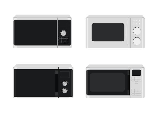 Zestaw do kuchenki mikrofalowej. ilustracja wektorowa różnych wzorów kuchenek mikrofalowych.