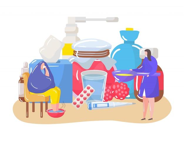 Zestaw do leczenia domowego ilustracji osób cierpiących na przeziębienie, wirusy, grypę i dbających o zdrowie w domu.