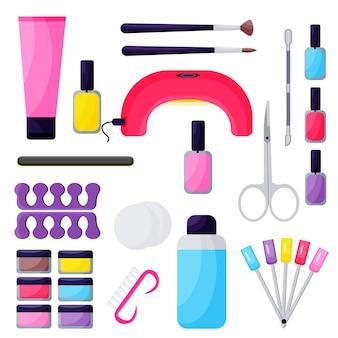 Zestaw do manicure do przedłużania paznokci na białym tle. projekt ilustracji wektorowych.