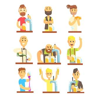 Zestaw do mieszania, nalewania, otwierania i ozdabiania napojów alkoholowych barmana. kolorowe ilustracje szczegółowe ilustracje