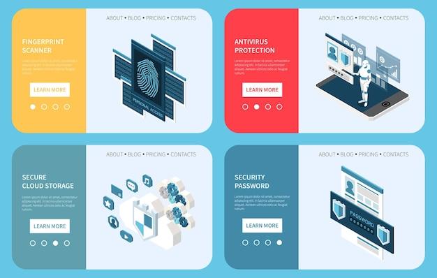 Zestaw do ochrony danych osobowych w zakresie prywatności cyfrowej składający się z czterech poziomych banerów z ikonami izometrycznymi i przyciskami stron
