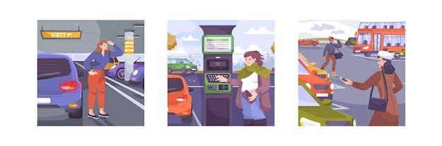 Zestaw do parkowania złożony z płaskich kompozycji z zewnętrznymi i wewnętrznymi widokami parkingów samochodów i ludzi