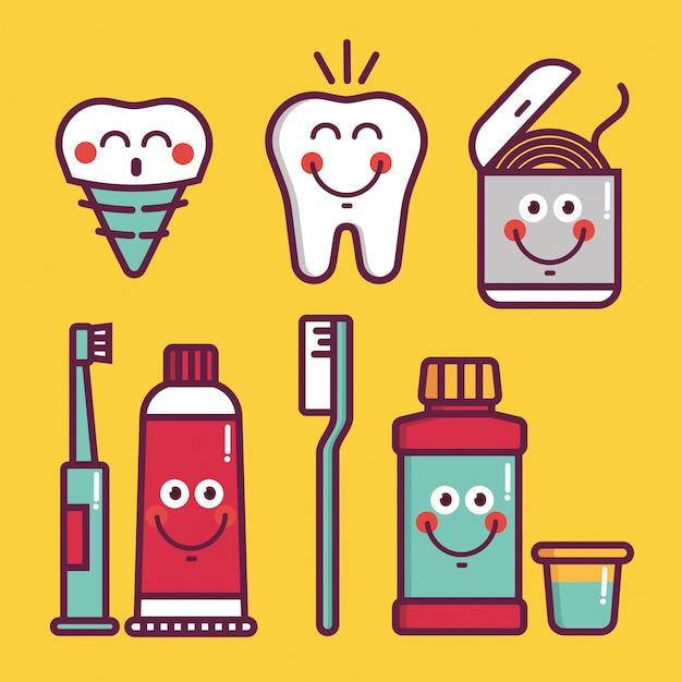 Zestaw do pielęgnacji jamy ustnej dla dzieci. higiena jamy ustnej dziecka - ikony pędzle, zęby, pasta do zębów, balsam, nić dentystyczna, woda, implant protezy