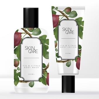 Zestaw do pielęgnacji skóry w tubach i butelkach w stylu retro lub w stylu vintage z pospolitymi figami i cytrusami.