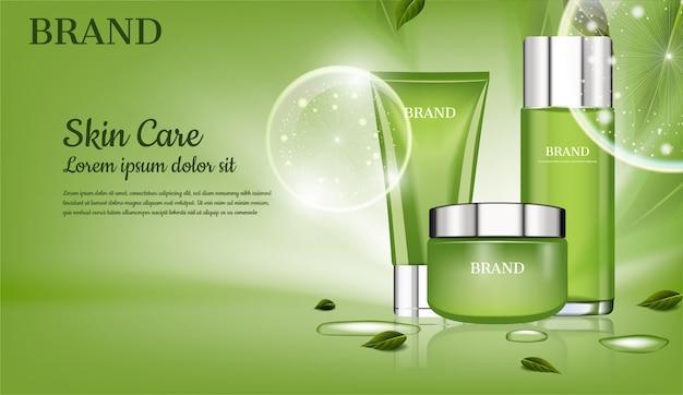Zestaw do pielęgnacji skóry z zielonymi liśćmi i reklamą kosmetyczną z dużymi bąbelkami