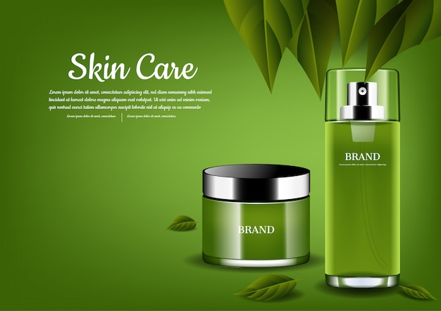 Zestaw do pielęgnacji skóry z zielonymi liśćmi