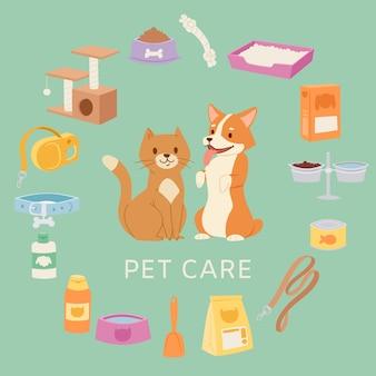 Zestaw do pielęgnacji zwierząt domowych dla sklepu zoologicznego zawiera zabawki, obrożę, jedzenie, rysunkowego kota i psa, miseczki, ilustracje szamponu.