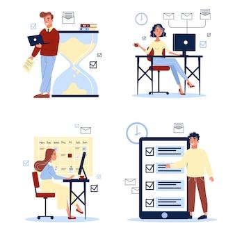 Zestaw do pracy biurowej. młodzi ludzie w biurze siedzi przy biurku