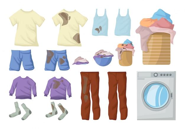 Zestaw do prania. kolekcja brudnych ubrań.