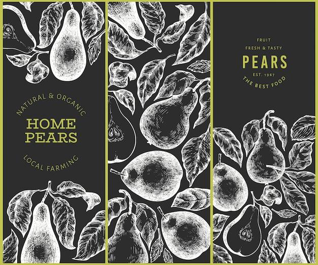 Zestaw do projektowania gruszek. ręcznie rysowane wektor ogród owoców ilustracja na tablicy kredą. grawerowany styl ogród botaniczny transparent retro.