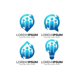 Zestaw do projektowania logo grupy usług elektrycznych