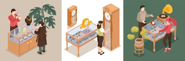 Zestaw do projektowania lombardu składający się z trzech kwadratowych kompozycji z lombardami i klientami kupującymi lub sprzedającymi cenne rzeczy
