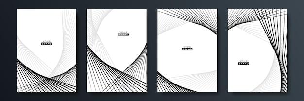 Zestaw do projektowania nowoczesnej czarnej okładki. luksusowy kreatywny wzór linii w kolorach premium: czarnym, szarym i białym. formalny wektor na okładkę notebooka, plakat biznesowy, szablon broszury, układ magazynu