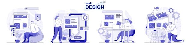 Zestaw do projektowania stron internetowych w płaskiej konstrukcji ludzie tworzą i umieszczają elementy graficzne w układzie witryny