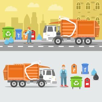 Zestaw do recyklingu śmieci z ciężarówką i kontenerami.
