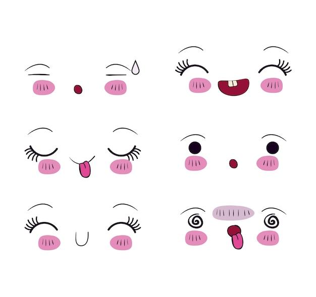 Zestaw do różnych wyrazów twarzy w kolorze kawaii
