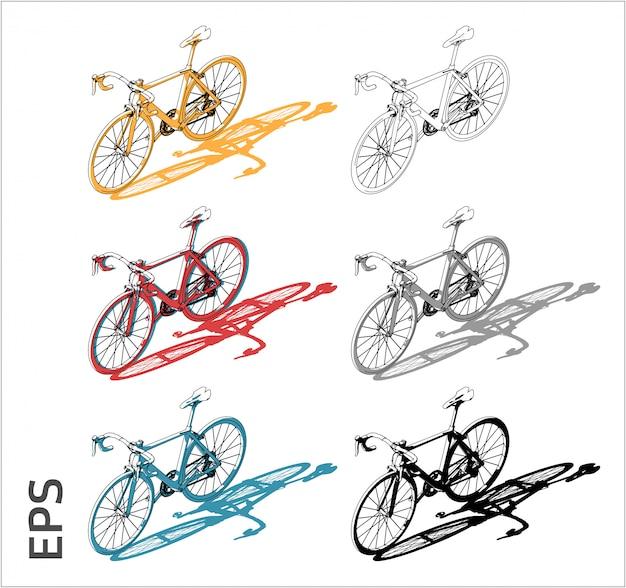 Zestaw do rysowania rowerów w różnych kolorach, widok z boku
