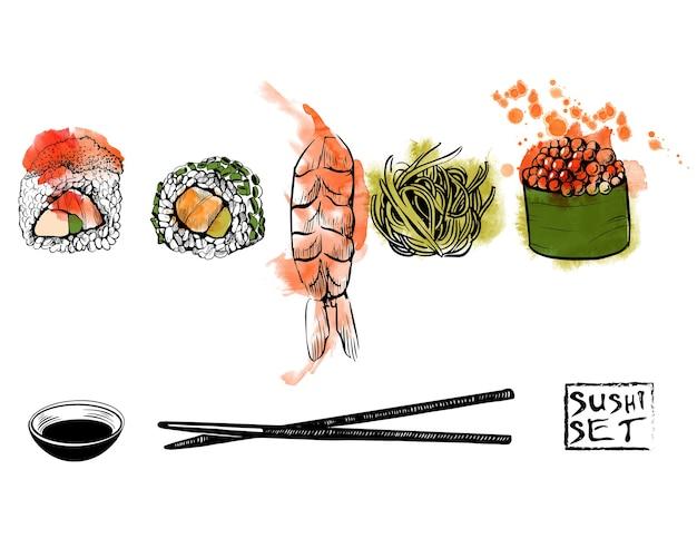Zestaw do sushi. szkic i akwarela