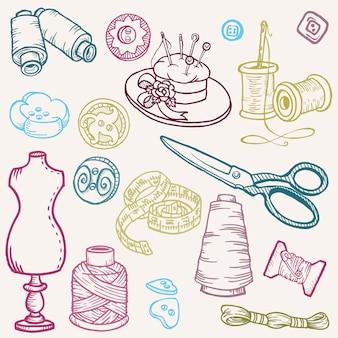Zestaw do szycia doodles ręcznie rysowane elementy projektu