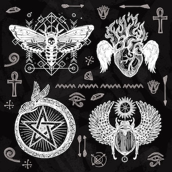 Zestaw do tatuażu na tablicy szkolnej