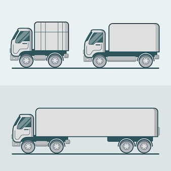 Zestaw do transportu drogowego samochodu ciężarowego. liniowy wielokolorowy kontur obrysu płaski
