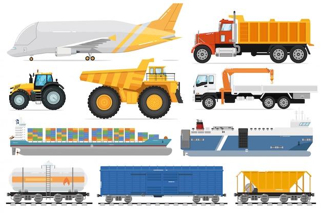 Zestaw do transportu ładunków. widok z boku pojazdu wysyłki ładunku. izolowane samoloty przemysłowe, wywrotka, ciężarówka z dźwigiem, statek, zbiornik kolejowy, kolekcja transportu wagonów. usługa dostawy transportu.