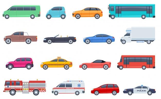 Zestaw do transportu miejskiego. samochód policyjny karetka straż pożarna autobus taksówka kabriolet suv pickup wektor płaski izolowany transport miejski