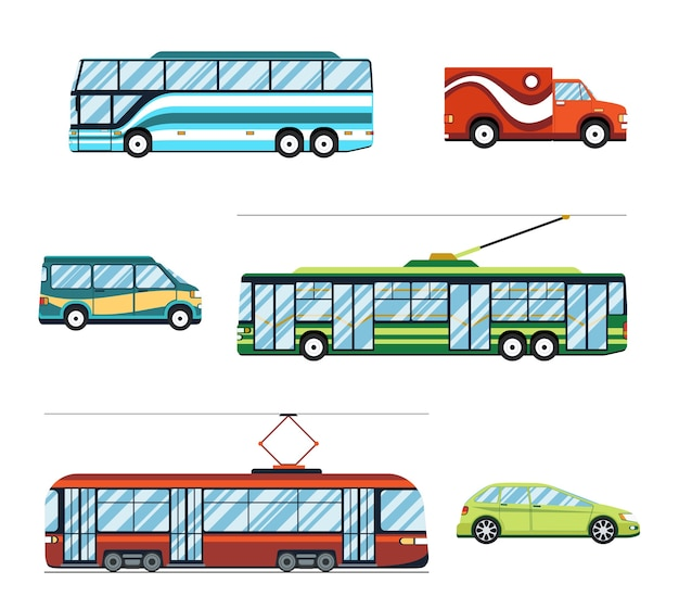 Zestaw do transportu miejskiego. wózek i autobus, tramwaj i samochód