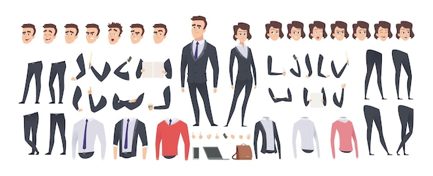 Zestaw do tworzenia kreskówka biznesmen. biznes kobieta i mężczyzna lub konstruktor menedżerów, gest ciała i fryzurę i emocje wektor zestaw. ilustracja zestaw postaci człowieka, zestaw do tworzenia ciała