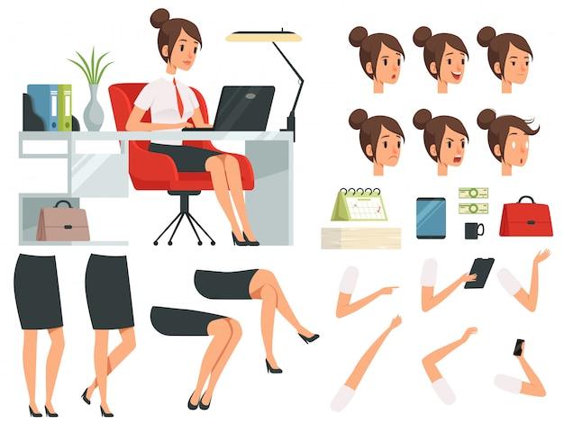 Zestaw do tworzenia maskotka kreskówka kobiety biznesu