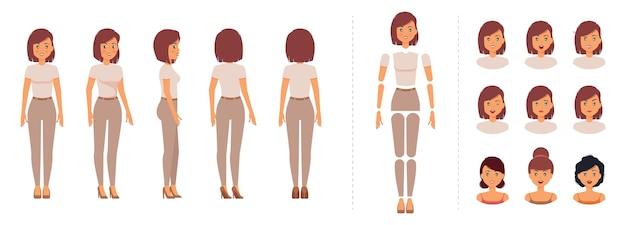Zestaw do tworzenia postaci elegancka elegancka kobieta do animacji z szablonem emocji