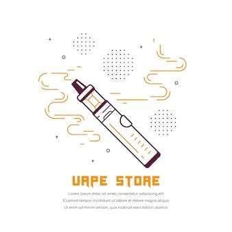 Zestaw do vaping pen i mod. projekt sklepu vape na białym tle. koncepcja palenia vape.